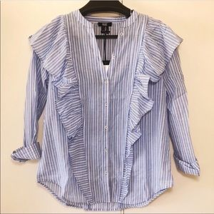 Paige Fareen Button Down Ruffle Shirt